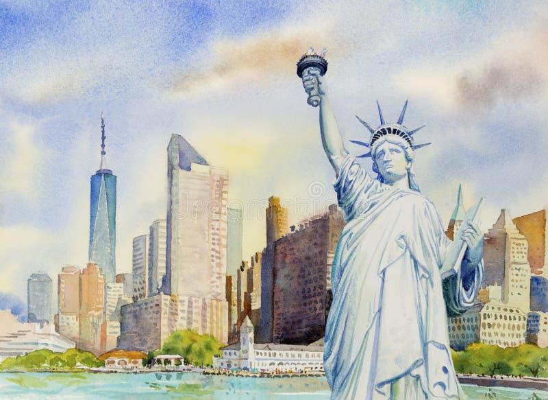 Libertà della statua in Manhattan urbana Pittura dell'acquerello illustrazione di stock