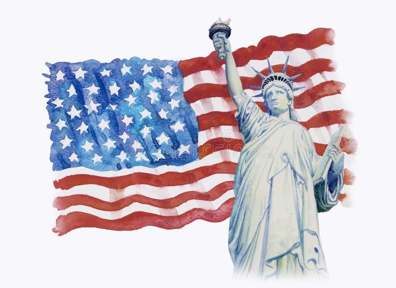 Libertà della statua sull'americano della bandiera nel fondo bianco royalty illustrazione gratis