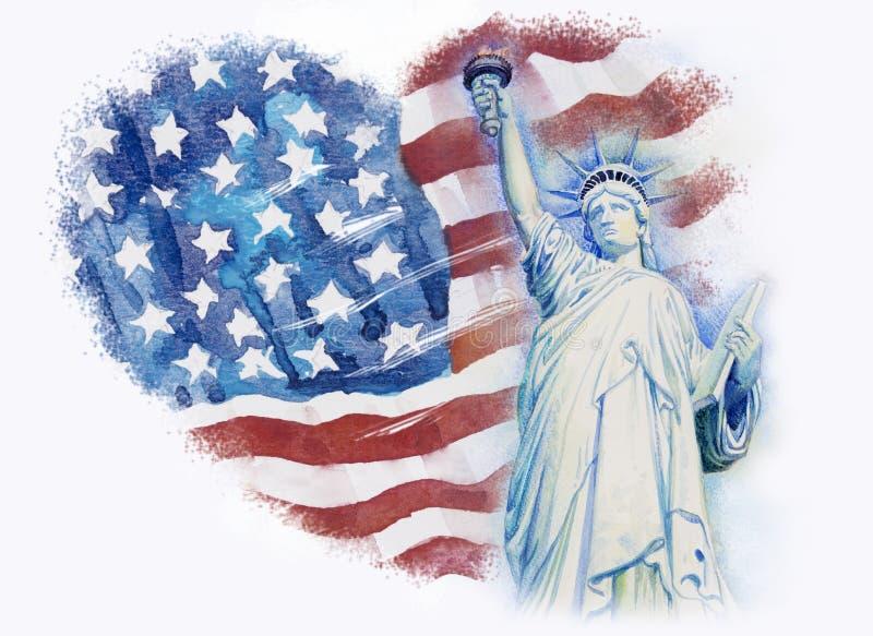 Libertà della statua sull'americano della bandiera Pittura dell'acquerello illustrazione vettoriale