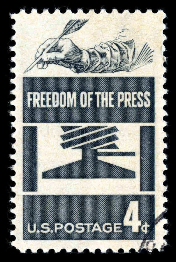 Libertà di stampa del francobollo di U.S.A. fotografia stock libera da diritti