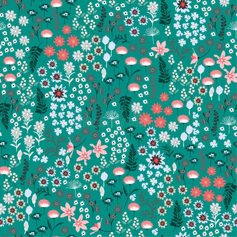 Liberté de Coloful beaucoup genre de modèle de fleurs sauvages Tiré par la main je illustration stock
