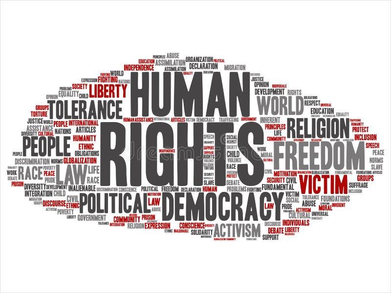 Liberté politique de droits de l'homme de vecteur, nuage de mot d'abrégé sur démocratie illustration libre de droits