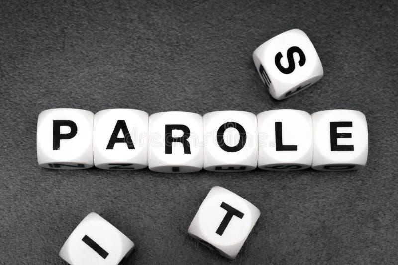 Libertad condicional de la palabra en los cubos del juguete imagen de archivo libre de regalías