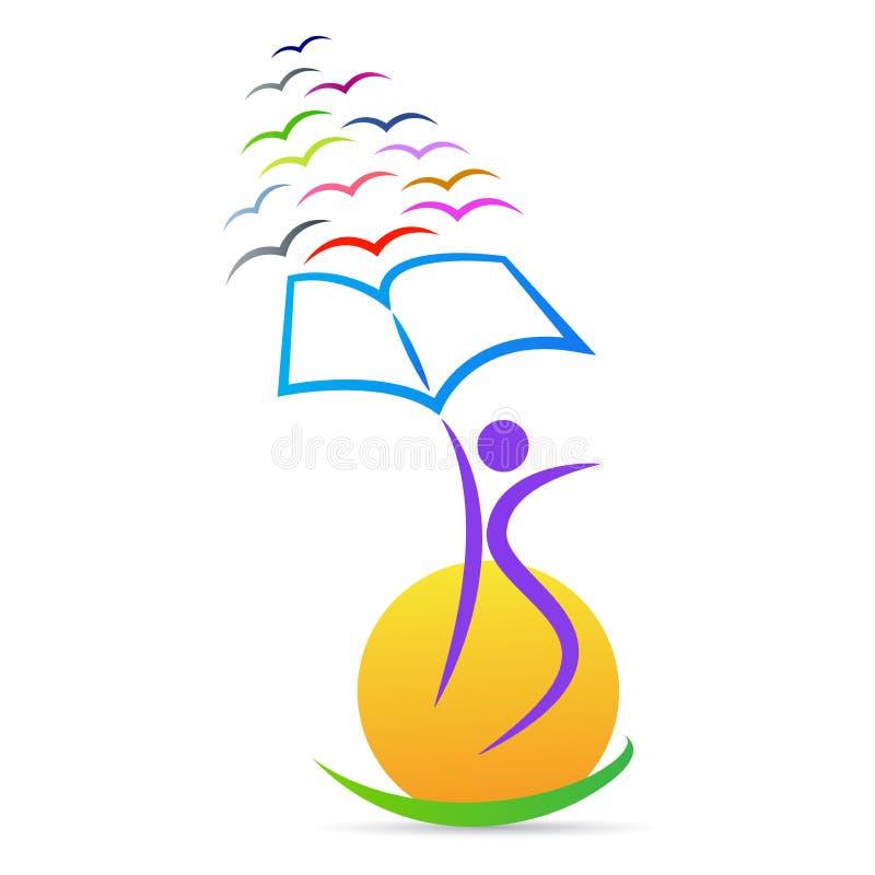 Libertad de la educación para el logotipo del éxito del conocimiento ilustración del vector