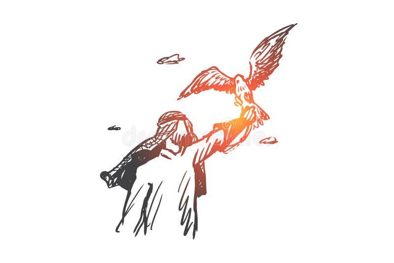 Libertad, Islam, forma de vida, concepto de la fascinación Vector aislado dibujado mano ilustración del vector
