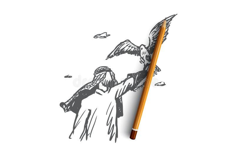 Libertad, Islam, forma de vida, concepto de la fascinación Vector aislado dibujado mano libre illustration