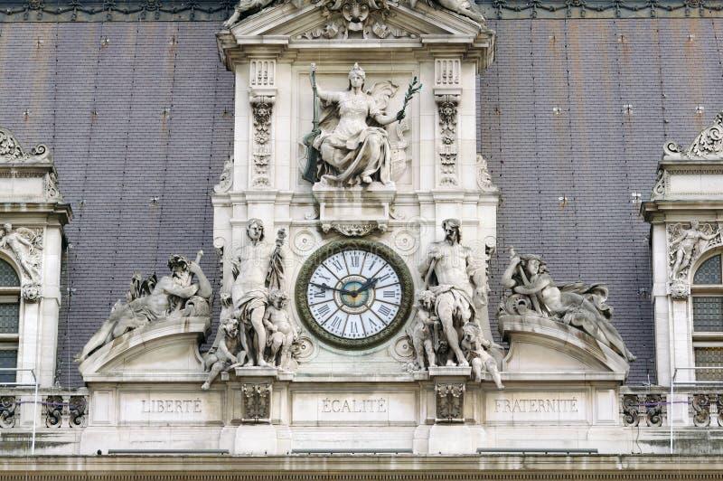 Liberte, Egalite, lema de Fraternite en París imagen de archivo