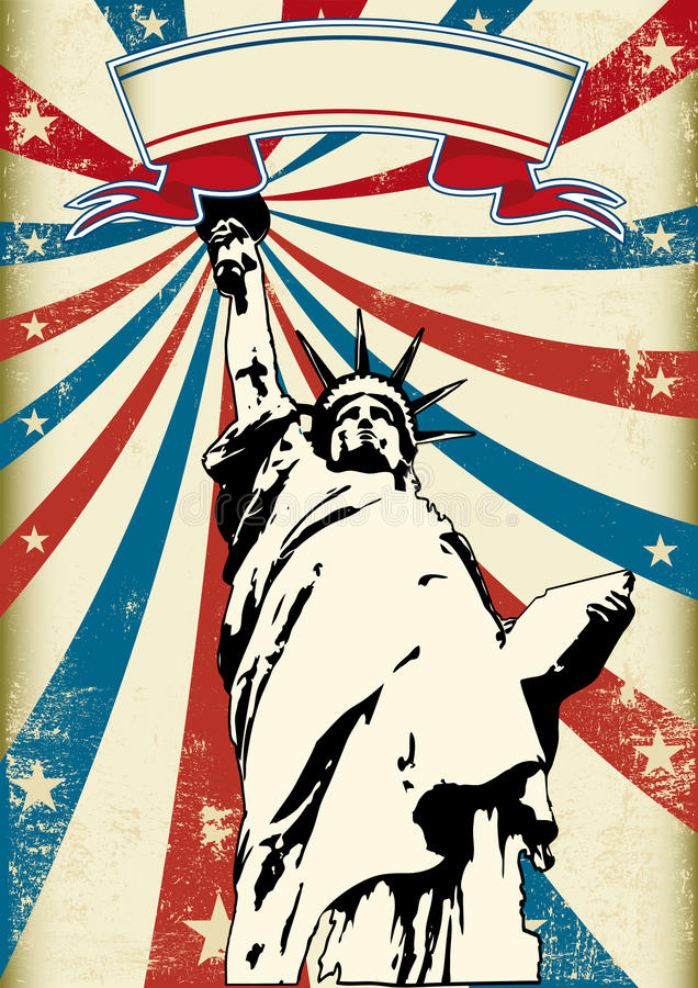 Liberty. A grunge poster with the statue of liberty stock illustration