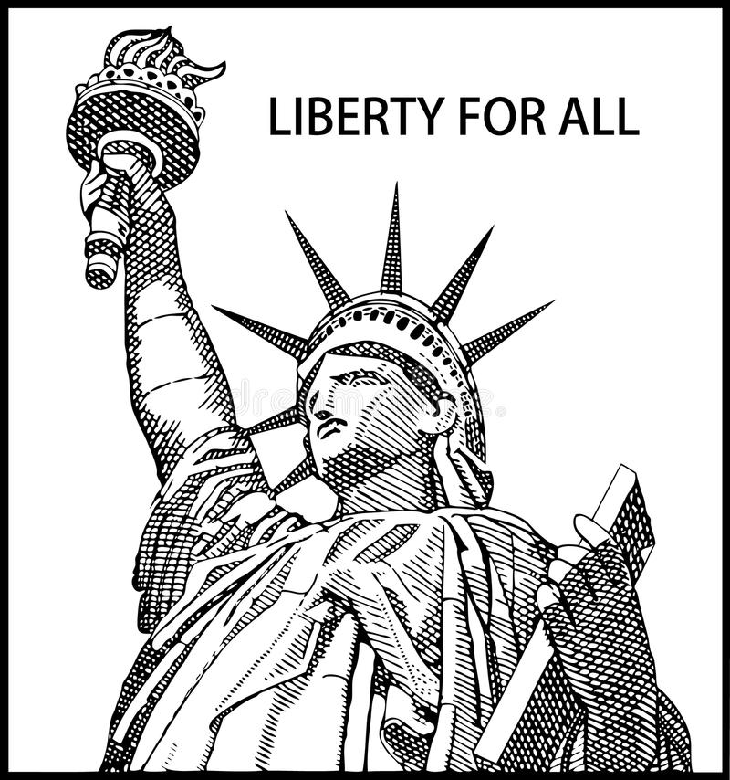 Liberty. Statue of liberty made in the style of U.S. currency royalty free illustration