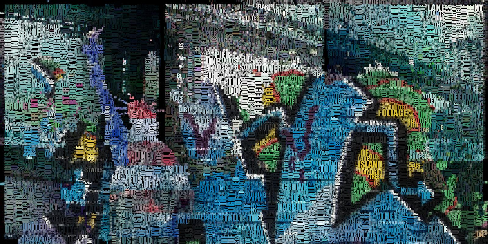Liberty. Abstract painting. Liberty statue, bridge and graffiti background. 3D Render. Composed entirely of words stock illustration