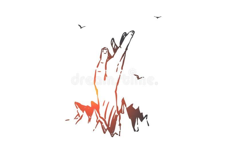 Liberty, autonomy, determination concept sketch. Hand drawn isolated vector. Liberty, autonomy, determination concept sketch. Human hand breaks through ground royalty free illustration
