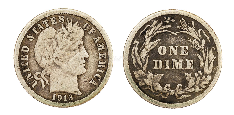 Liberty Barber Dime Coin image stock
