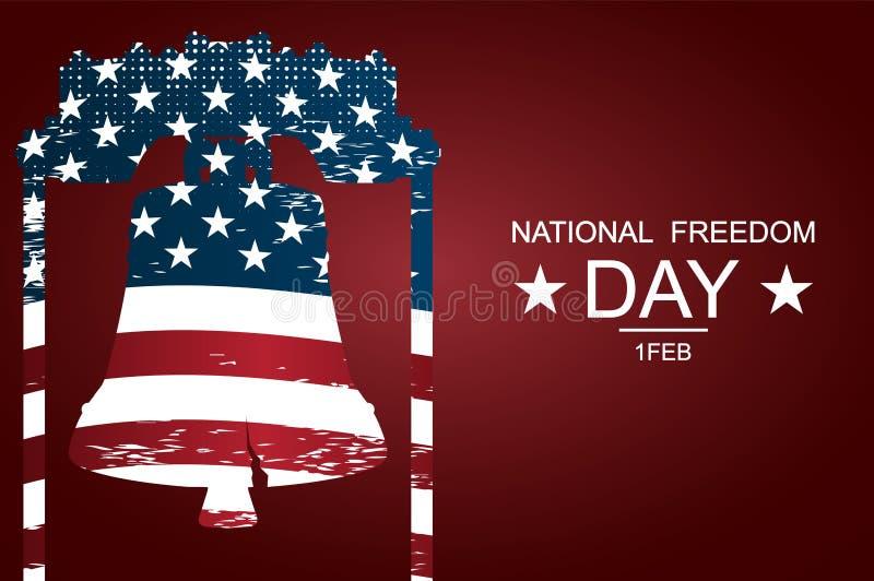 """Liberty Bell como símbolos da liberdade e da justiça para o dia nacional da liberdade € do cartaz ou das bandeiras """"no dia nacio ilustração royalty free"""