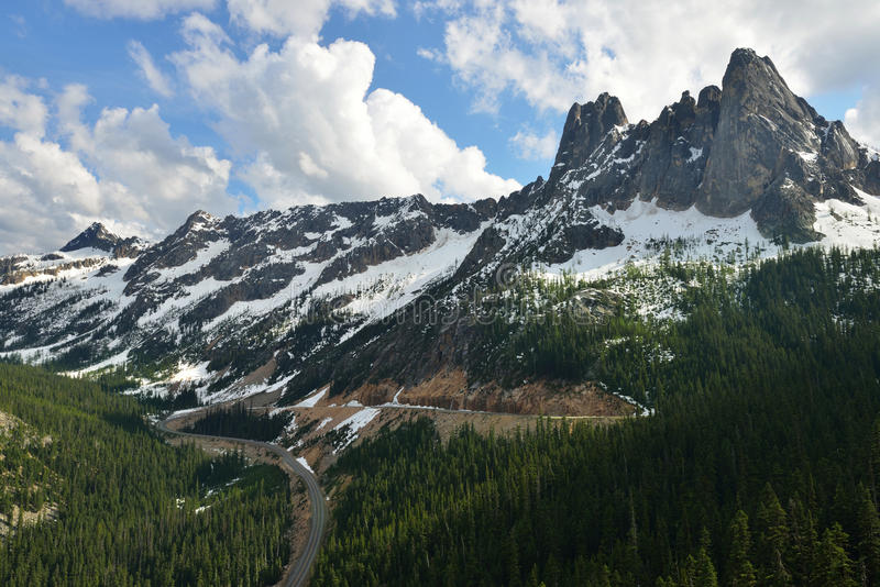 Liberty Bell and the Early Winter Spires, North Cascades royalty free stock image