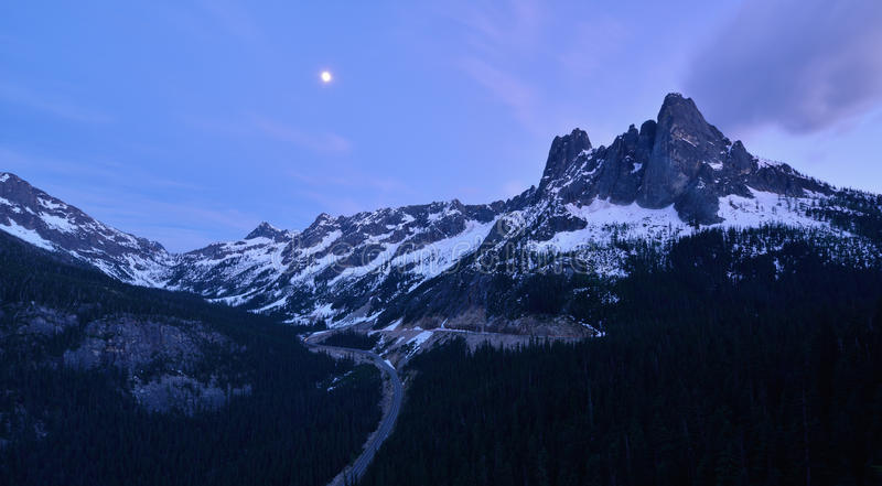 Liberty Bell and the Early Winter Spires, North Cascades stock images