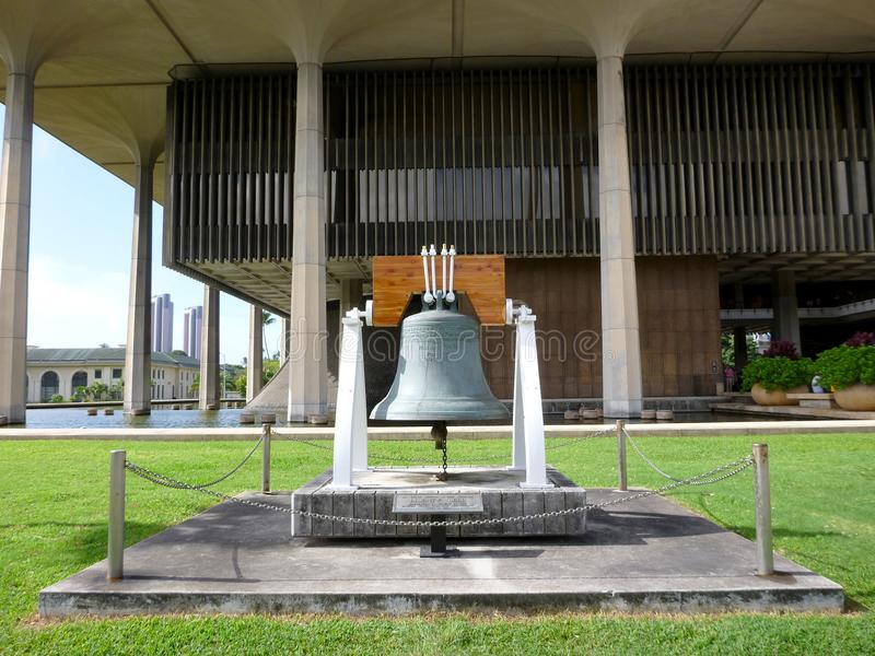 Liberty Bell in front of the Hawaii State Capitol. In 1950, the United States Department of the Treasury assisted by several private companies selected Paccard royalty free stock images