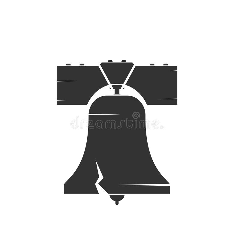 Liberty bell silhouette. Vector image isolated on white background vector illustration