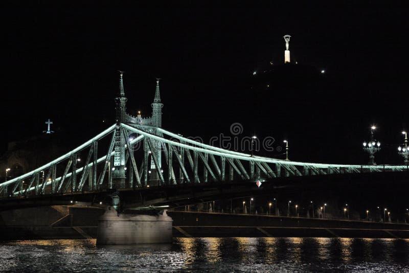 Liberty Bridge, Boedapest, Hongarije, nacht royalty-vrije stock afbeelding