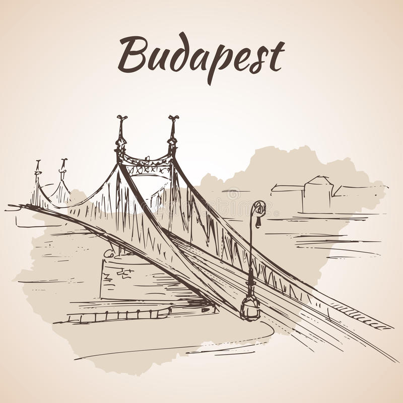 Download Liberty Bridge In Budapest, Hungary. Stock Vector - Illustration of exterior, locations: 75517418