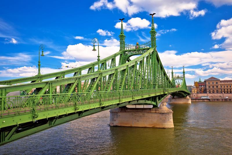 Liberty Bridge on Danube river in Budapest scenic view. Capital of Hungary stock image