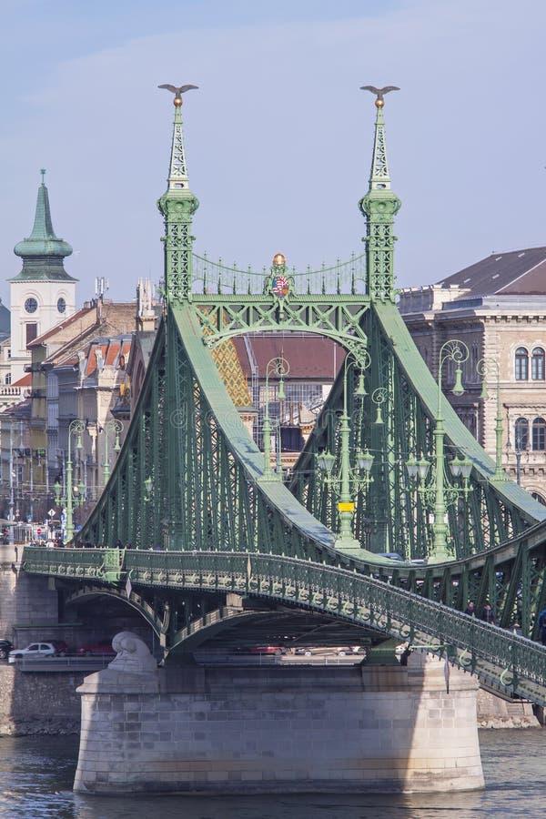 """Liberty Bridge en †de Budapest, Hungría """"23 de febrero de 2019 imagen de archivo libre de regalías"""