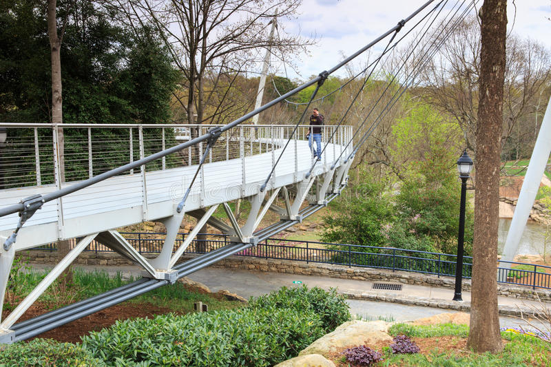 Liberty Bridge Greenville South Carolina imagem de stock