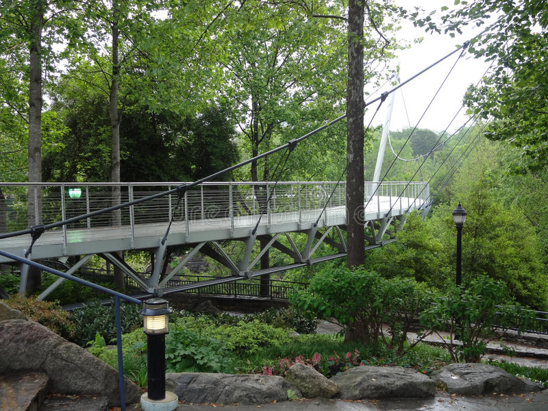 Liberty Bridge in Greenville, Zuid-Carolina stock afbeelding