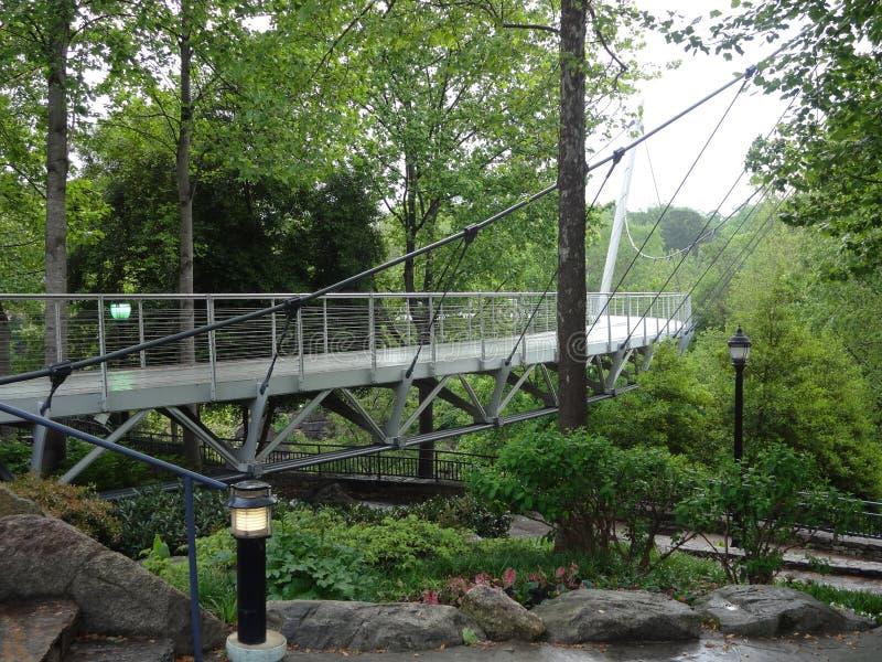 Liberty Bridge i Greenville, South Carolina fotografering för bildbyråer