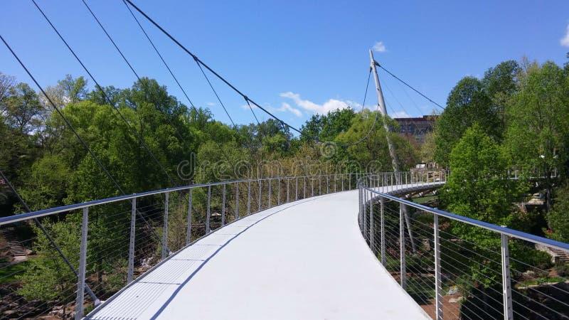 Liberty Bridge nedgångar parkerar, Greenville SC royaltyfri fotografi