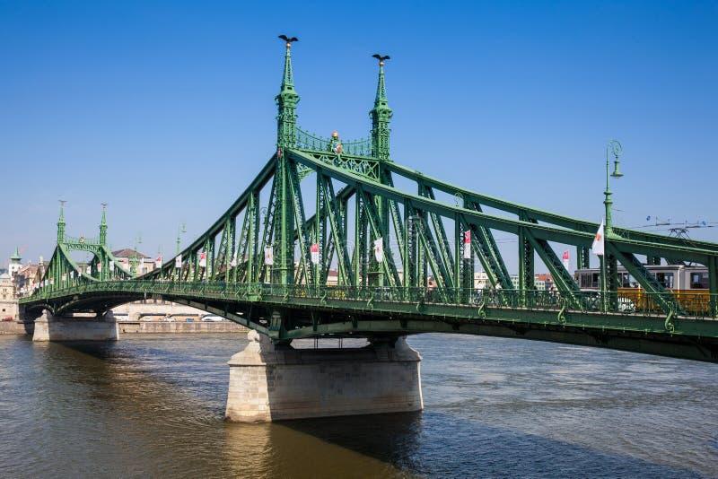 Liberty Bridge ou pont de liberté au-dessus du Danube à Budapest image stock