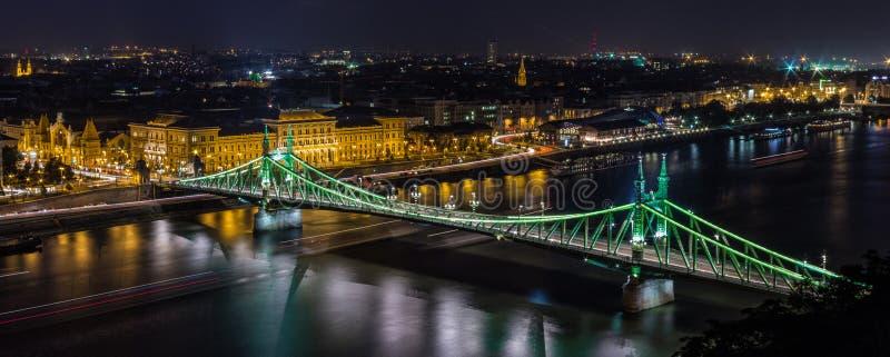 Liberty Bridge Panorama - Budapest stockfotos