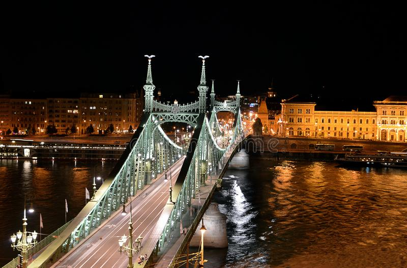 Liberty Bridge Szabadsag híd, on the Danube, Budapest, Hungary, at night stock photo