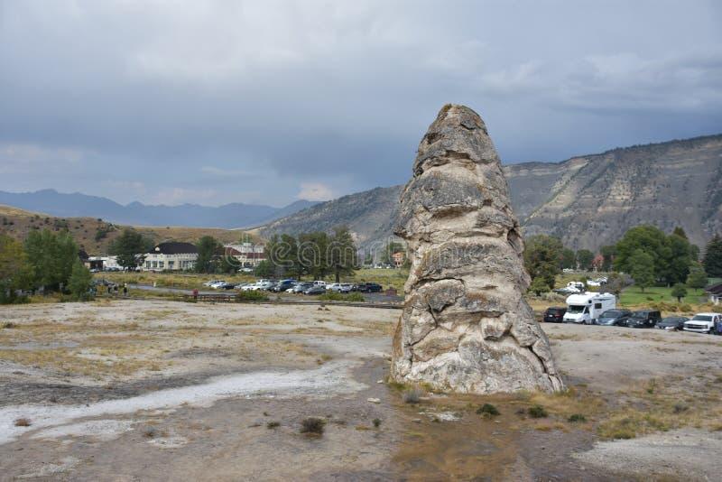 Liberty Cap bij het Nationale Park van Yellowstone stock afbeelding