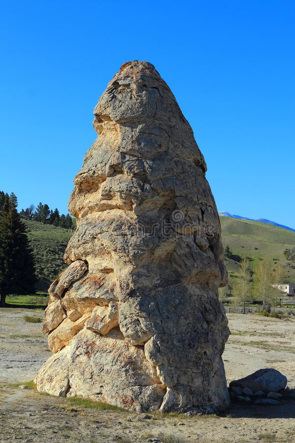 Mammoth Hot Springs, Yellowstone National Park, Wyoming, USA, Liberty Cap in Evening Light stock photo