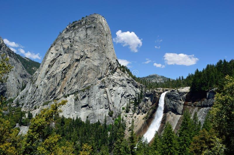 Liberty Cap & Nevada Fall, Yosemite, California. Liberty Cap is a granite dome in Yosemite National Park, California, USA which lies at the extreme northwestern stock photo