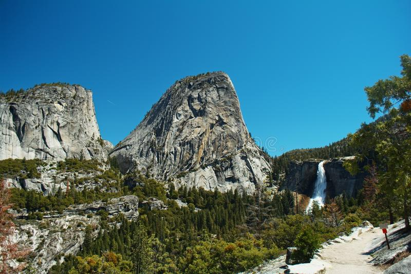 The Liberty Cap. Liberty Cap next to Nevada Falls in Little Yosemite Valley royalty free stock image