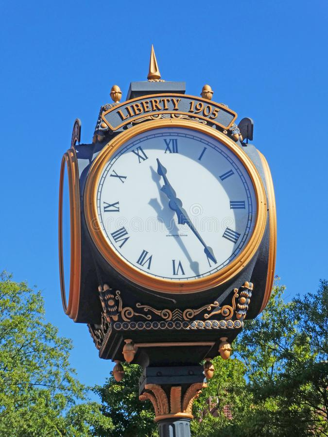 Liberty Clock in Downtown Greenville SC USA royalty free stock photography