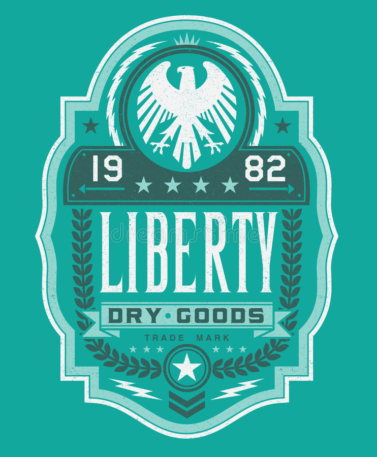 Liberty Dry Goods Label vector illustration