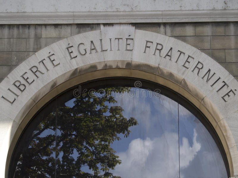 Liberty, Equality, Fraternity. The motto of the French revolution on the wall of a Paris building stock images