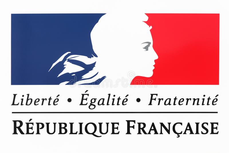 Liberty, equality, fraternity sign and the national motto of France. On a wall stock photos
