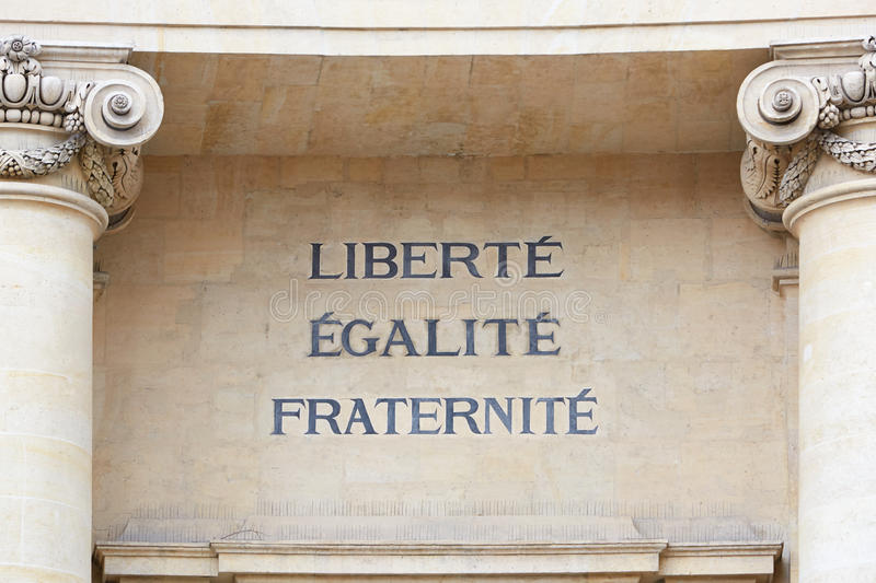 Liberty, Equality, and Fraternity words, french motto. Liberty, Equality, and Fraternity words in Paris, the motto of the French Revolution stock images