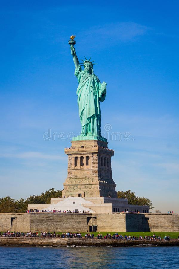 Liberty Island and Statue of Liberty. New York City COPY SPACE AVAILABLE stock photography