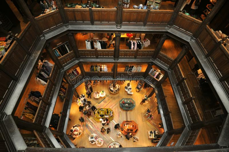Liberty : the leading shopping destination store in London, England. Liberty or Liberty`s, is a department store in Great Marlborough Street, in the West End of stock photography