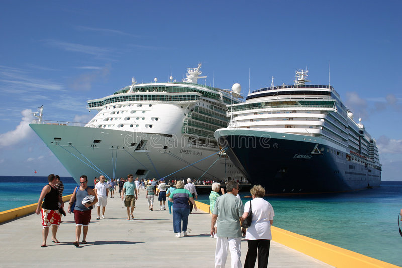 The Liberty of the Seas and The Zuiderdam royalty free stock photo
