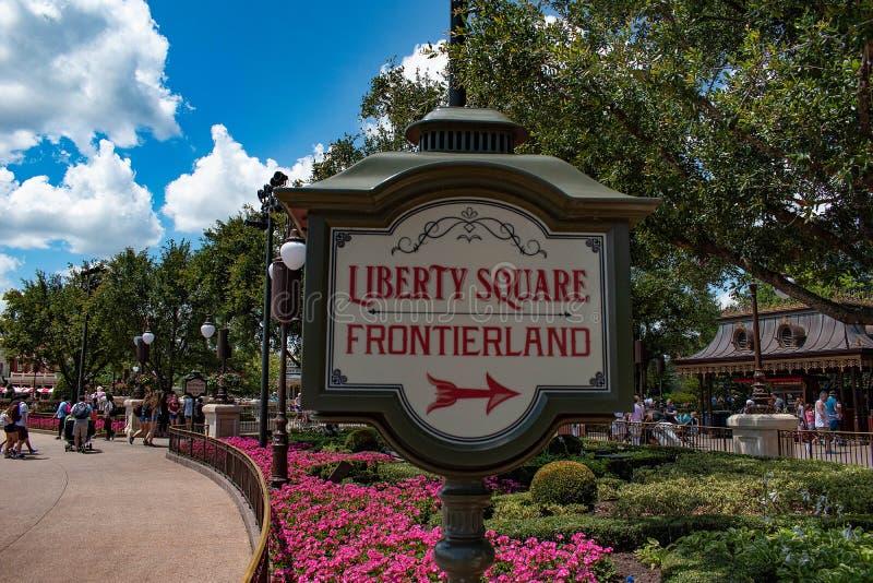 Liberty Square Frontierland-teken in Magisch Koninkrijk in Walt Disney World 124 royalty-vrije stock afbeeldingen