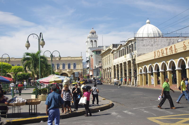 Liberty Square in San Salvador stock image