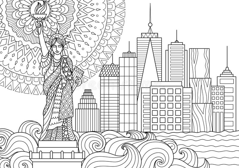 Liberty Statue royaltyfri illustrationer