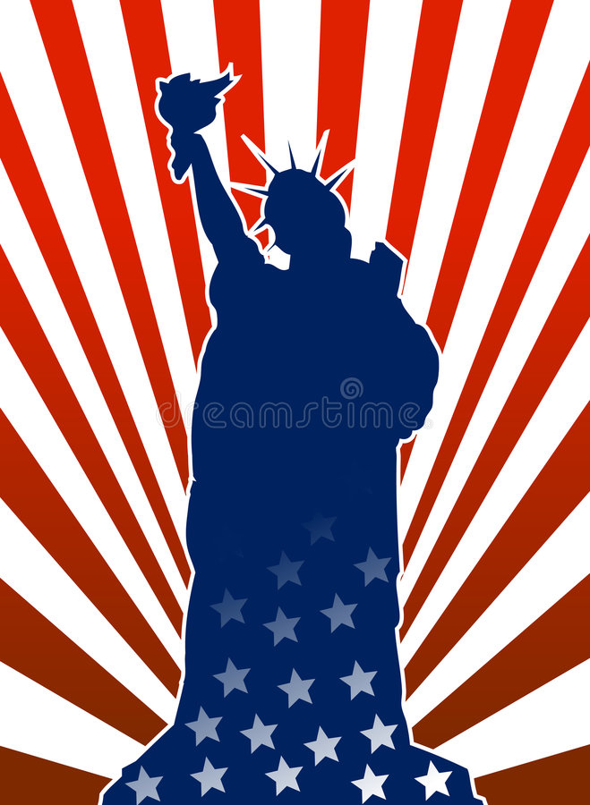 Liberty statue in american flag. Vector illustration of liberty statue in new york with united states of america flag inside borders stock illustration