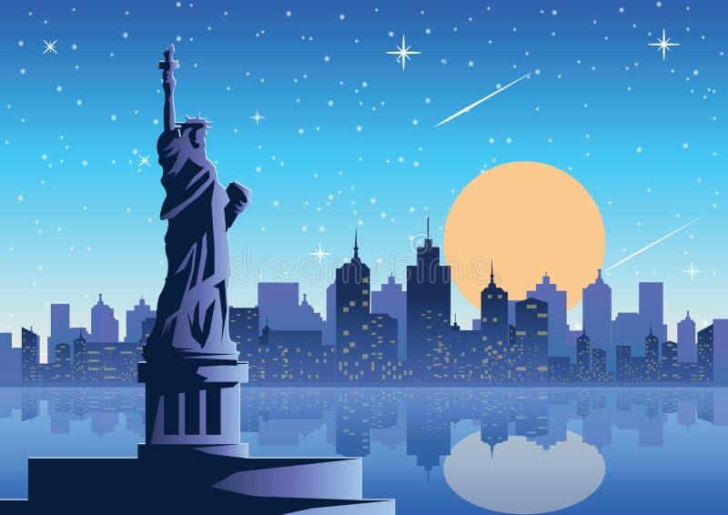 Liberty Statue berömd gränsmärke av Amerika på nattfullmånestaen arkivfoton