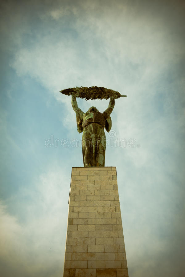 Liberty Statue (Freedom Statue) of Budapest, Hungary. Budapest, Hungary - September 16, 2015: Liberty Statue (Freedom Statue) at the Citadel on Gellert hill in stock image